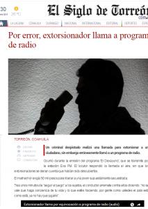 Llamada de extorsión viral - El siglo de Torreón